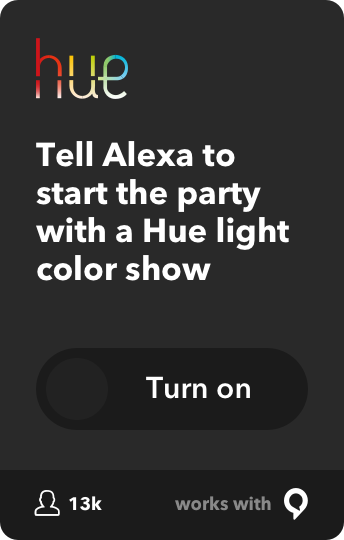 Tell Alexa to start the party with a Hue light color show